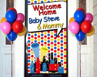 Welcome Home Baby Door Banner, Personalized Baby Boy Party Banner, It's a Boy Welcome Banner, Welcome Home Baby Banner, Super Hero Banner