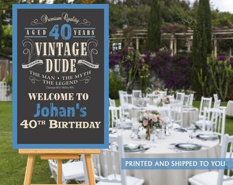 Vintage Dude Welcome Sign - 40th Birthday Party Sign - Welcome Sign 50th Birthday, Foam Board Sign, Welcome to the Party Sign, Canvas Sign
