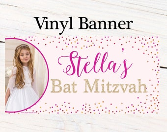 Bat Mitzvah Personalized Banner  ~ Happy Birthday Personalized Party Banners- Large Photo Banner, 13th Birthday Banner, Custom Banner