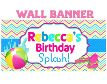 Rainbow Pool Party Banner ~ Personalized Party Banner - Summer Birthday Banner, Printed Banner, Birthday Banner - 13th Birthday