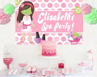 Spa Party Personalized Backdrop - Birthday Cake Table Backdrop - Make Up Birthday Backdrop, Custom Banner, Photo Backdrop, Printed