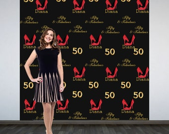 Photo Backdrop Stepping into 50- Step and Repeat Personalized Photo Backdrop- Birthday Party Vinyl Photo Booth Backdrop- Red Heels Backdrop
