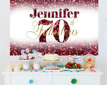 Ruby Red 70th Birthday Personalized Backdrop - Birthday Cake Table Backdrop- Fabulous 50th Birthday Backdrop - Party Photo Backdrop