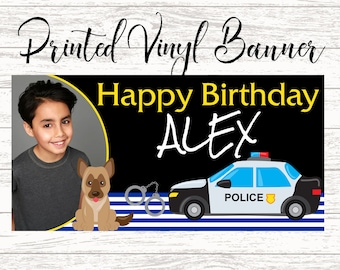 Little Cop Banner ~ Personalized Party Banners - Photo First Birthday Banner - Custom Banner - Police Birthday Banner, Printed Vinyl Banner