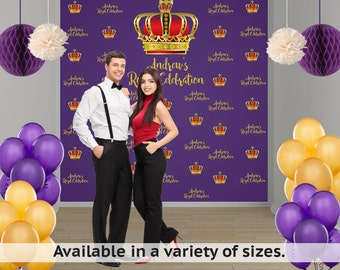 Crown Royal Birthday Party Personalized Photo Backdrop - Royal Crown Birthday Photo Backdrop- Step and Repeat Photo Backdrop, Royal Prince