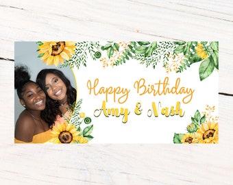 Birthday Banner | Personalized Birthday Banner | Printed Vinyl Banner | Custom Banner | Sunflower Party Banner |  Sweet 16 Banner