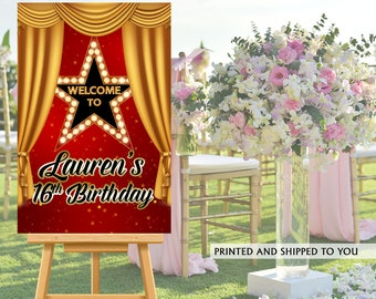 Hollywood Welcome Sign | Welcome to the Party Sign | 16th Birthday Welcome Sign | Foam Board Welcome Sign | Printed Welcome Sign |  VIP Sign