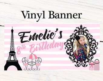 Paris Birthday Banner ~ Personalized Party Banners - Photo First Birthday Banner - Custom Banner - Eiffel Tower Banner, 10th Birthday