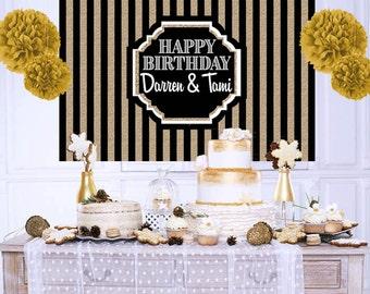 Happy Birthday Personalized Backdrop, 40th Birthday Cake Table Backdrop, 50th Birthday Backdrop, Art Deco Backdrop, Birthday Backdrop