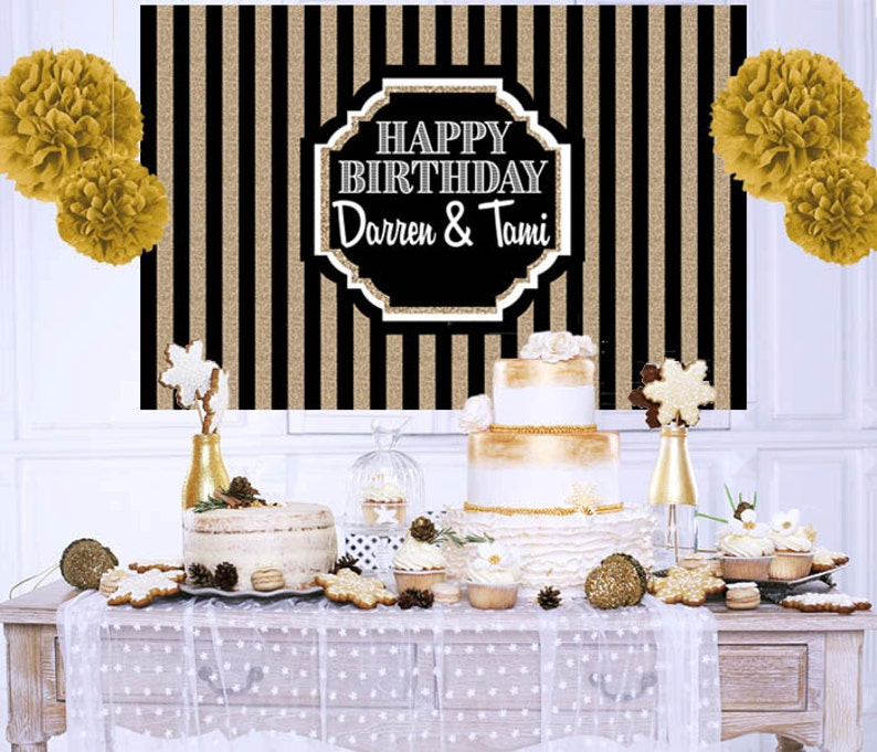 Happy Birthday Personalized Backdrop 40th Cake Table