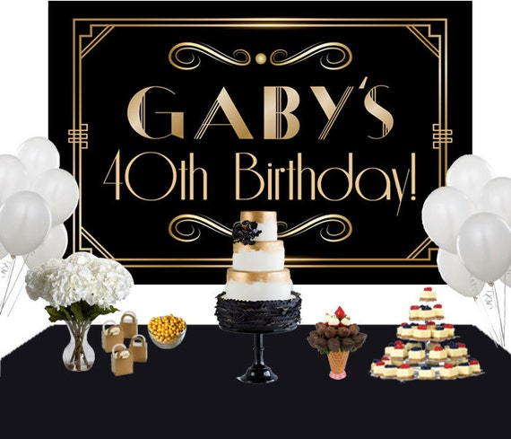 Art Deco Personalized Backdrop Birthday Cake Table