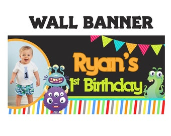 Little Monster Birthday Banner ~ Personalized Party Banners, Photo First Birthday Banner, Vinyl Banner Printed, First Birthday Banner