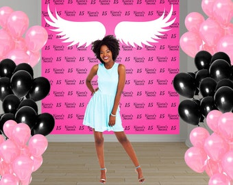 Pink Birthday Party Personalized Photo Backdrop, 15th Birthday Photo Backdrop- Angel Wings Photo Booth Backdrop, Printed Backdrop