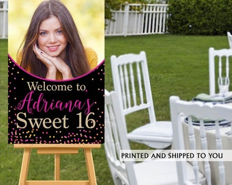 Sweet Sixteen Photo Welcome Sign, Hot Pink Sparkle Sign, Sweet 16 Welcom Sign, Foam Board Welcome Sign, 16th Birthday Printed Welcome Sign