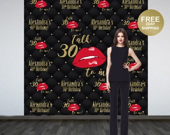 Talk 30 to Me Personalized Photo Backdrop   30th Birthday Photo Backdrop   Birthday Photo Backdrop   Printed Photo Booth Backdrop   Kiss