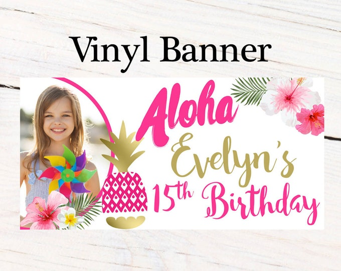 Featured listing image: Aloha Luau Personalized Banner  ~ Happy Birthday Personalized Party Banners- Hibiscus Large Photo Banner, Summer Fun Banner, Printed Banner