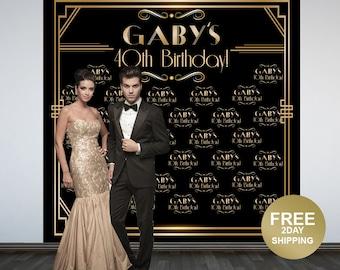 Great Gatsby Backdrop   Art Deco Step & Repeat Backdrop   Birthday Backdrop   Roaring 20's Photo Backdrop   Printed Photo Backdrop