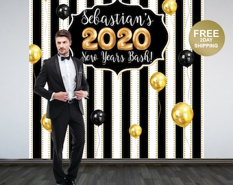 Happy New Year Personalize Photo Backdrop -2020 Celebration Photo Backdrop- Party Photo Backdrop, Holiday Party Backdrop, Printed Backdrop