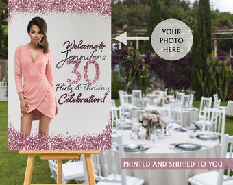 30th Birthday Welcome Sign, Rose Gold Sparkle Sign, Flirty and Thirty Welcome Sign, Foam Board Welcome Sign, Birthday Welcome Sign - Canvas