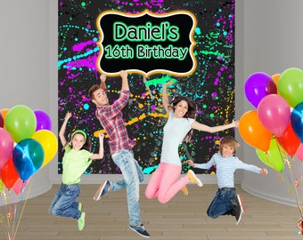Neon Blast Party Personalized Photo Backdrop - Birthday Party Backdrop, Sweet 16th Photo Backdrop, Printed Backdrop, Paint Ball Backdrop