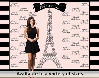 Paris Step and Repeat Personalized Photo Backdrop -Sweet 16 Photo Backdrop- Eiffel Tower Photo Backdrop, Printed Vinyl Backdrop
