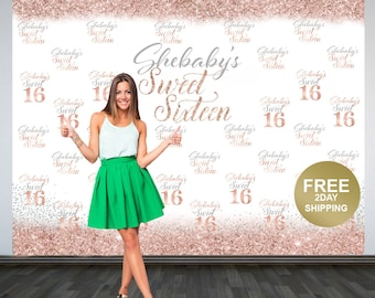 Sweet 16 Personalized Photo Backdrop   Rose Gold 16th Birthday Photo Backdrop   Step & Repeat Photo Backdrop, Silver Sweet 16 Photo Backdrop