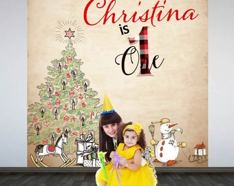 Christmas Birthday Personalized Photo Backdrop - Big One Photo Backdrop- First Birthday Photo Backdrop, Holiday Party Backdrop, Printed