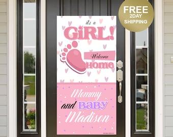 It's a Girl Door Banner | Welcome Home Baby Banner | Baby Arrival Door Banner | Mommy and Baby Yard Banner, New Baby Banner