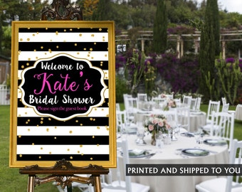 Bridal Shower Welcome Sign - Black and White Stripes Sign, Welcome Sign Graduation, Foam Board Sign, Welcome to the Party Sign, Printed Sign