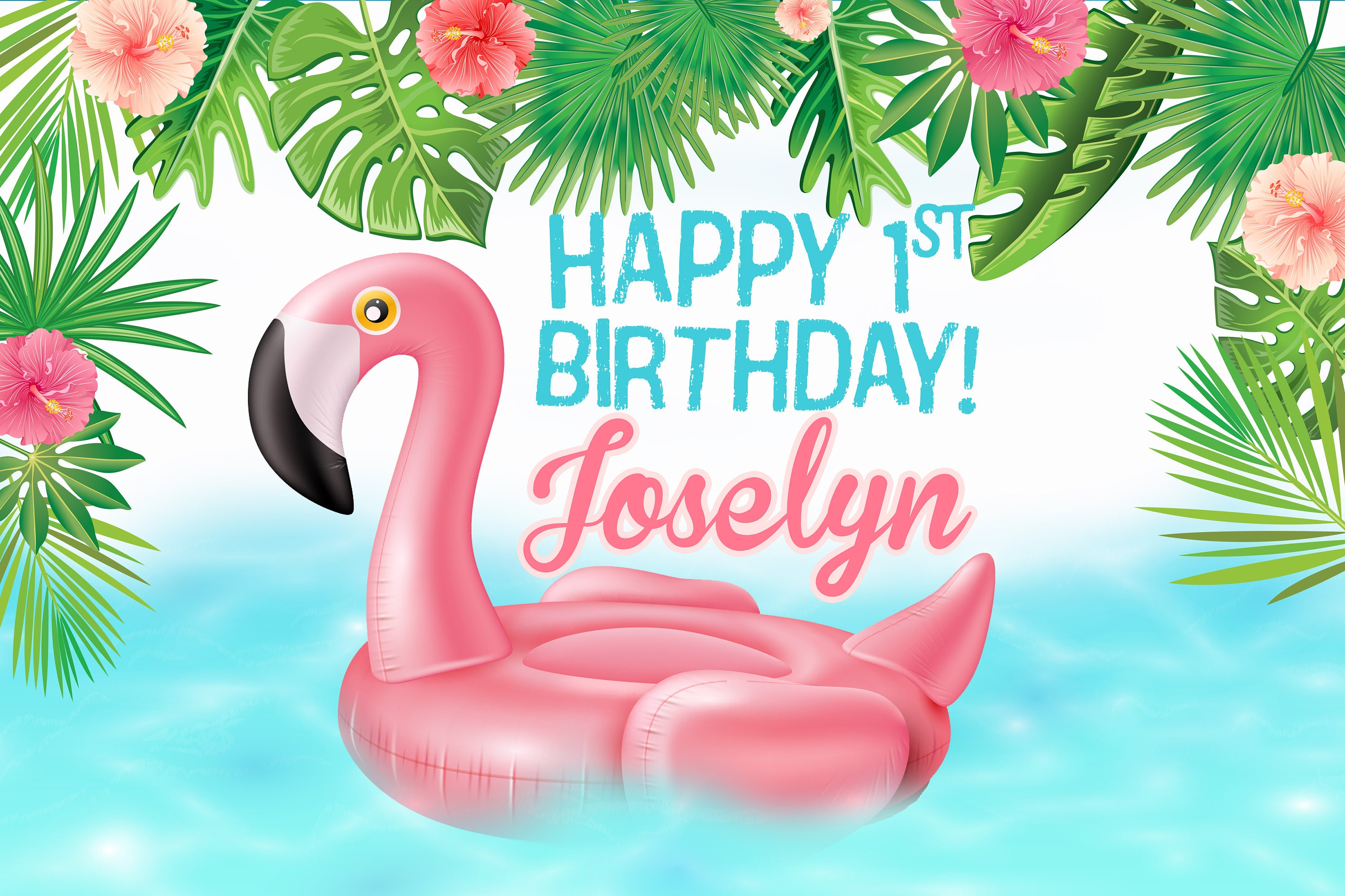 flamingo pool party backdrop birthday cake table backdrop summer