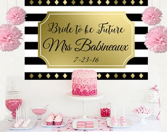 Future Mrs. Personalize Backdrop - Bridal Shower Cake Table Backdrop Birthday- Black and White Birthday Backdrop