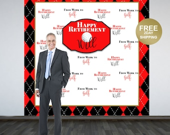 Retirement Party Personalized Photo Backdrop   Golf Retirement Photo Backdrop   Birthday Photo Backdrop   Retirement Backdrop