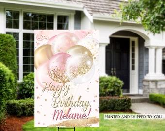 Birthday Yard Sign   Quarantine Birthday Sign   Birthday Yard Sign   Rose Birthday Signs   50th Birthday Yard Sign, Happy Birthday Lawn Sign