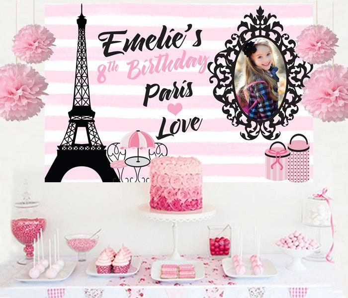 Paris Love Personalized Photo Backdrop Birthday Cake Table