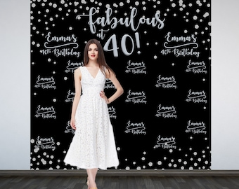 Fabulous 40 Personalized Photo Backdrop   Silver Sparkle Photo Booth Backdrop   Birthday Party Backdrop   40th Birthday Backdrop   Printed
