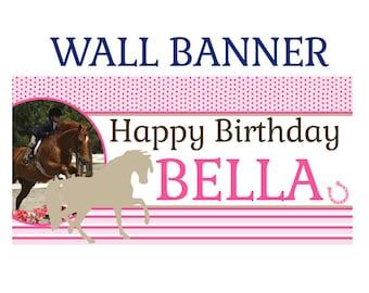 Horse Party Birthday Banner  ~ Pony Birthday Personalize Party Banners, Photo Birthday Banner, Pink Horse Banner,