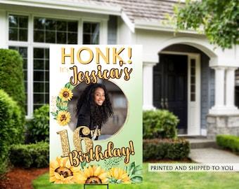Honk Birthday Yard Sign   Quarantine Birthday   Birthday Yard Sign   Sunflowers Sign   16th Birthday Yard Sign   Happy Birthday Lawn Sign