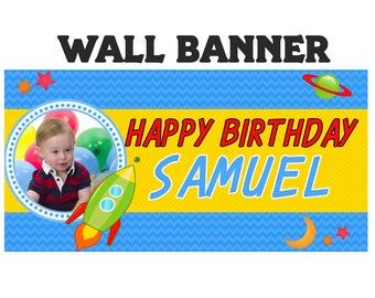 Rocket ~ Outer Space Photo Personalized Happy Birthday Party Banners, Out of this World Banner, Printed Banner, Vinyl Banner