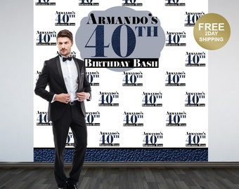 40th Birthday Personalized Photo Backdrop, Birthday Photo Backdrop- 50th Birthday Photo Backdrop - Men's Birthday Step and Reapet Backdrop