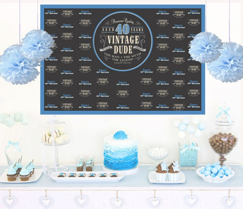 Vintage Dude Personalized Backdrop Birthday Cake Table