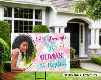 Flamingo Birthday Yard Sign   Quarantine Birthday   Birthday Yard Sign   13th Birthday Yard Sign   Happy Birthday Lawn Sign   Tropical