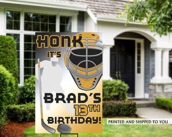 Honk Hockey Yard Sign   Quarantine Birthday   Birthday Yard Sign   Hockey Team Yard Sign   Sports Birthday Sign   Hockey Yard Sign