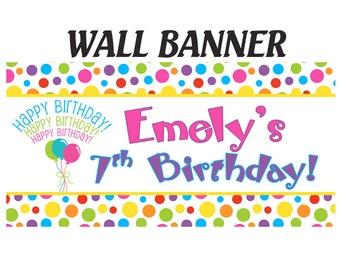 Happy Birthday Banner  ~ Rainbow Polka Dots Photo Birthday Banner, Personalized Party Banners - Custo Party Banner, Printed Banner