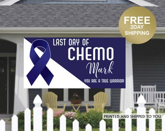 Last Day of Chemo Banner - I Finished Chemo Banner - Cancer Sucks Banner - Cancer Banner - Personalized Banner - Lawn Banner - Colon Cancer