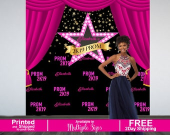 Prom Send Off Personalized Photo Backdrop | Prom 2K19 Photo Backdrop | Hollywood Star Photo Backdrop, Photo Booth Backdrop, Printed Backdrop