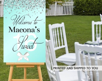 Sweet Sixteen Welcome Sign, Aqua and Diamonds Sign, Sweet 16 Welcome Sign, Foam Board Welcome Sign, Birthday Printed Welcome Sign