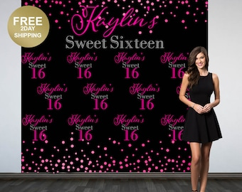 Sweet 16th Personalized Photo Backdrop | Birthday Party Photo Backdrop | Photo Backdrop | 16th Birthday Backdrop | Sweet Sixteen Backdrop