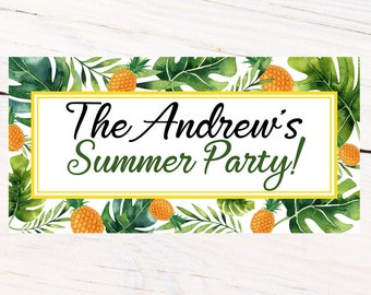 Summer Party Personalized Banner, Greenery Personalized Party Banners- Pineapple Photo Banner, Summer Fun Banner, Printed Banner, Birthday