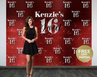 Sweet 16 Personalized Photo Backdrop   Red 16th Birthday Photo Backdrop   Step & Repeat Photo Backdrop, Birthday Backdrop   40th Birthday