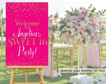 Sweet 16 Party Welcome Sign - Welcome to the Party Sign - 16th Birthday Welcome Sign, Foam Board Welcome Sign, Magenta Printed Welcome Sign